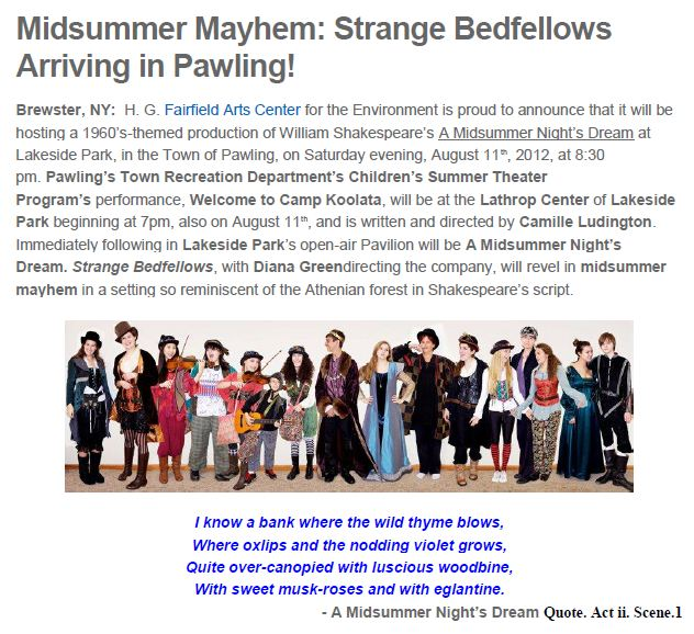 Midsummer Mayhem strange bedfellows arriving in pawling