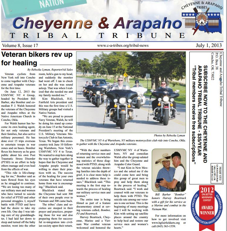 Cheyenne Arapaho Tribune Article