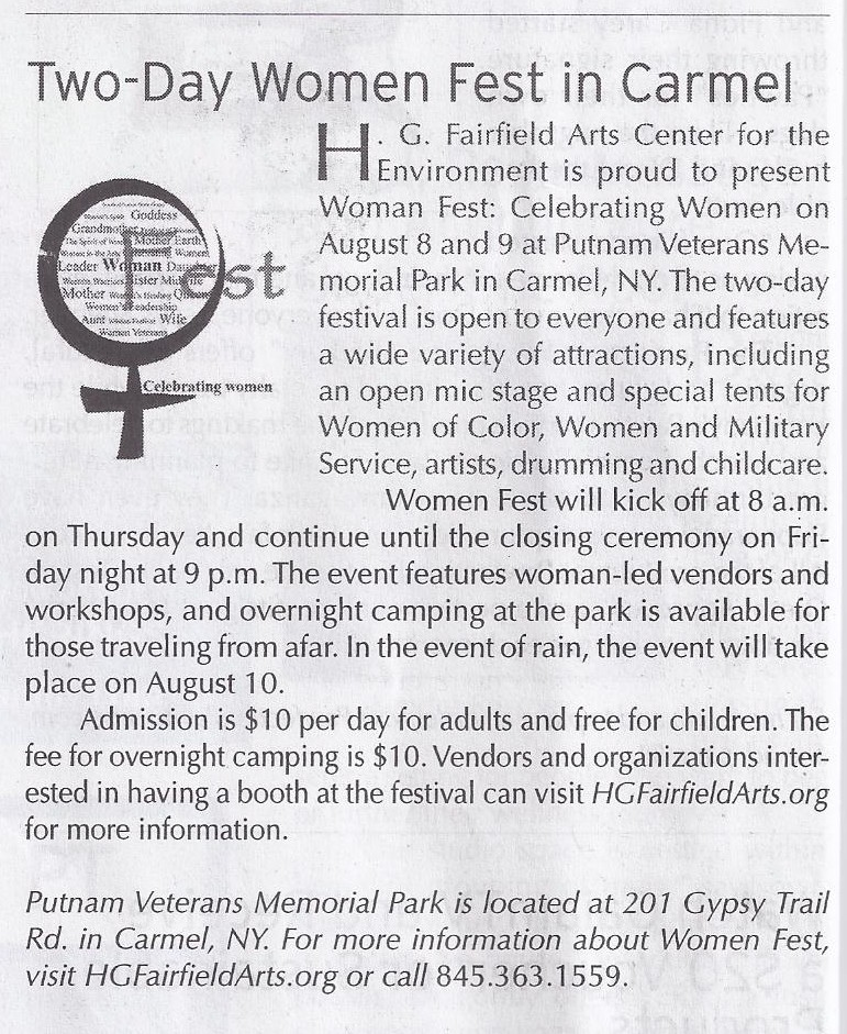 Two Day Woman Fest in Carmel - Natural Awakenings Article 2013