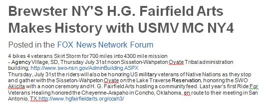 Brewste NY's H.G. fairfield Arts Makes History with USMV MC NY4