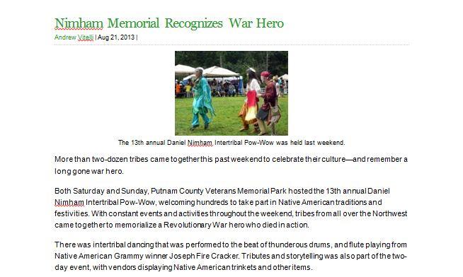 Nimham Memorial Recognizes War Hero