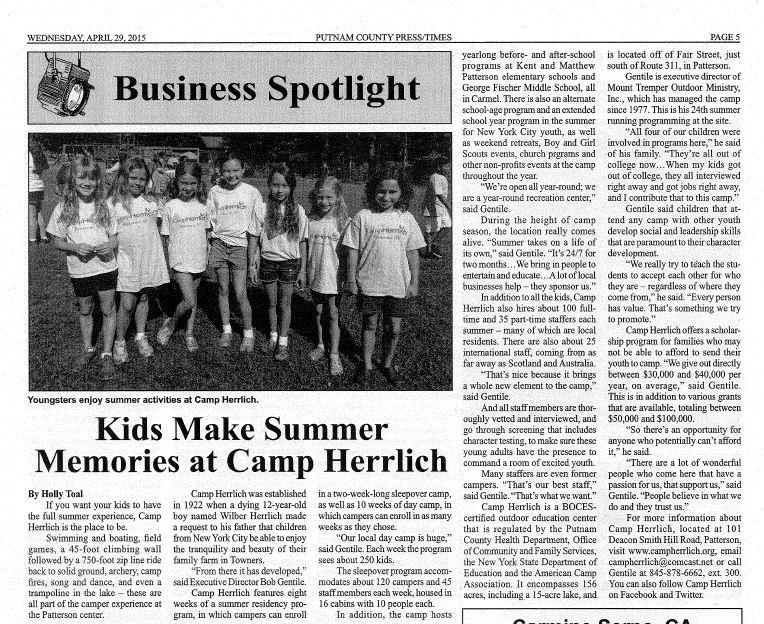 PUT-TIMES-Kids make summer memories at camp herrlich-04292015