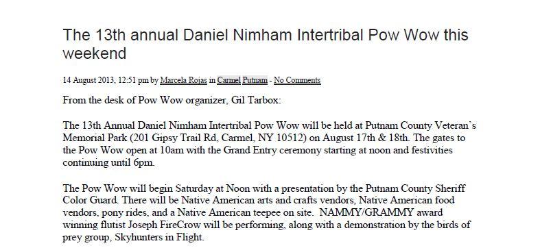 The 13th annual Daniel Nimham Intertribal Pow Wow this weekend